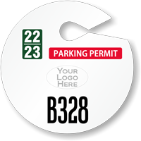 Custom Circle Parking Permit Hang Tag with Logo