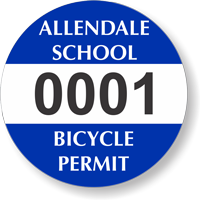 Custom Circular School Bicycle Permit Decals