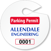 Customizable Circle Parking Permit Hang Tag