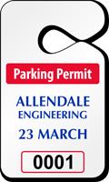 Pre-Printed Numbered Custom Parking Permit Tag