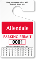 Custom Monthly Reserved Parking Permit Hang Tag