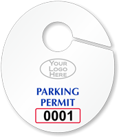 Custom Oval Parking Permit Hang Tag with Logo