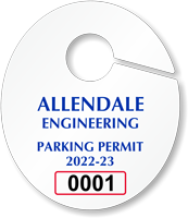 Custom Oval Parking Permit Hang Tag