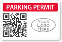 Custom Parking Permit Decal With QR Barcode