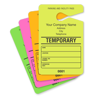 Parking Permit Hang Tag, Sequentially Numbered