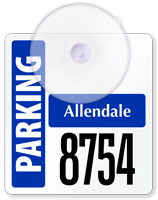 Customizable Mini Suction-Cup Parking Permits with Big Numbering