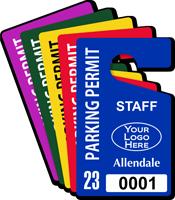 Custom Plastic Staff Parking Permit Hang Tag