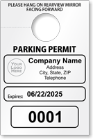 Custom Temporary Parking Permit Mirror Hang Tag