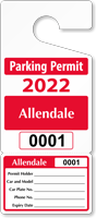 Personalized Perforated Parking Permit
