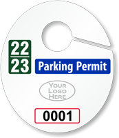 Design Oval Parking Permit Hang Tag with Logo