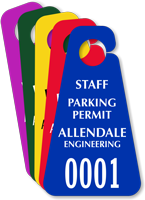 Customizable Triangle Staff Parking Permit Hang Tag