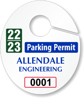 Create Own Oval Parking Permit Hang Tag