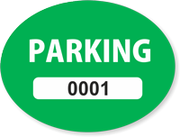 Green Numbered Oval Parking Decal