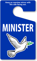 Minister Standard Rearview Mirror Parking Permit Tough Tag