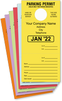 Monthly Parking Permit Hang Cardstock Tag