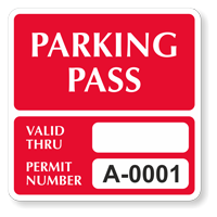 Parking Pass Numbered Decal