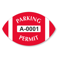 Parking Permit Football Shaped Sticker