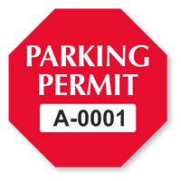 Parking Permit Octagon Shaped Sticker