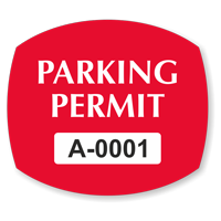 Parking Permit Squarish Oval Shaped Sticker