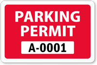 Parking Permit for Inside of Car Window, Colored