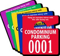 Condo Parking Permit Mirror Hang Tag, Small Size