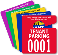 Tenant Parking Permit Mirror Hang Tag, Small Size