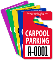 Carpool Parking Permit Mirror Hang Tag