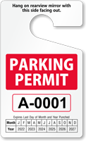 Standard Rearview Mirror Parking Permit Hang Tag