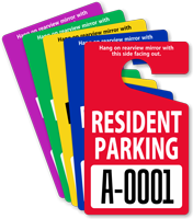 Resident Parking Permit Mirror Hang Tag