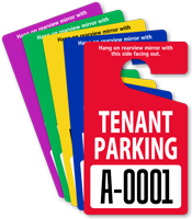 Tenant Parking Permit Mirror Hang Tag