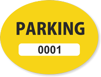 Yellow Numbered Oval Parking Decal