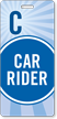 Car Rider Pass Backpack Tag, Blue Stripes Design