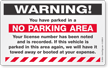 Warning No Parking Area Sticker