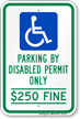 Florida Parking By Disabled Permit Only Sign