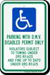 Oregon D.M.V. Disabled Permit Parking Only Sign