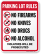 Parking Lot Rules No Firearms Drugs Alcohol Sign