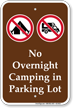 No Overnight Camping Campground Sign