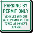 Parking By Permit Violators Towed Sign