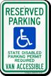 Washington Reserved Parking, Van Accessible Sign