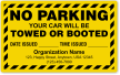 Custom No Parking Car Will Be Towed Label