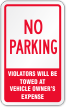 No Parking Violators Will Be Towed Label