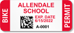 Custom School Bike Permit Decals with 2D Barcode onmouseover =