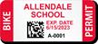 Custom School Bike Permit Decals with 2D Barcode