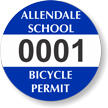 Custom Circular School Bicycle Permit Decals onmouseover =