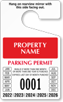 Custom Numbered Temporary Parking Permit Hang Tag