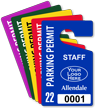 Custom Plastic Staff Parking Permit Hang Tag