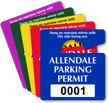 Customizable Plastic Parking Permit Mini Hang Tag