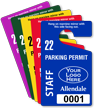 Customizable Plastic Staff Parking Permit Hang Tag