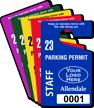 Customizable Plastic Staff Parking Permit Hang Tag