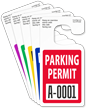 Jumbo Numbered Parking Permit Hang Tag